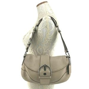 COACH Pebbled Leather Handbag Fold Over Top #10723